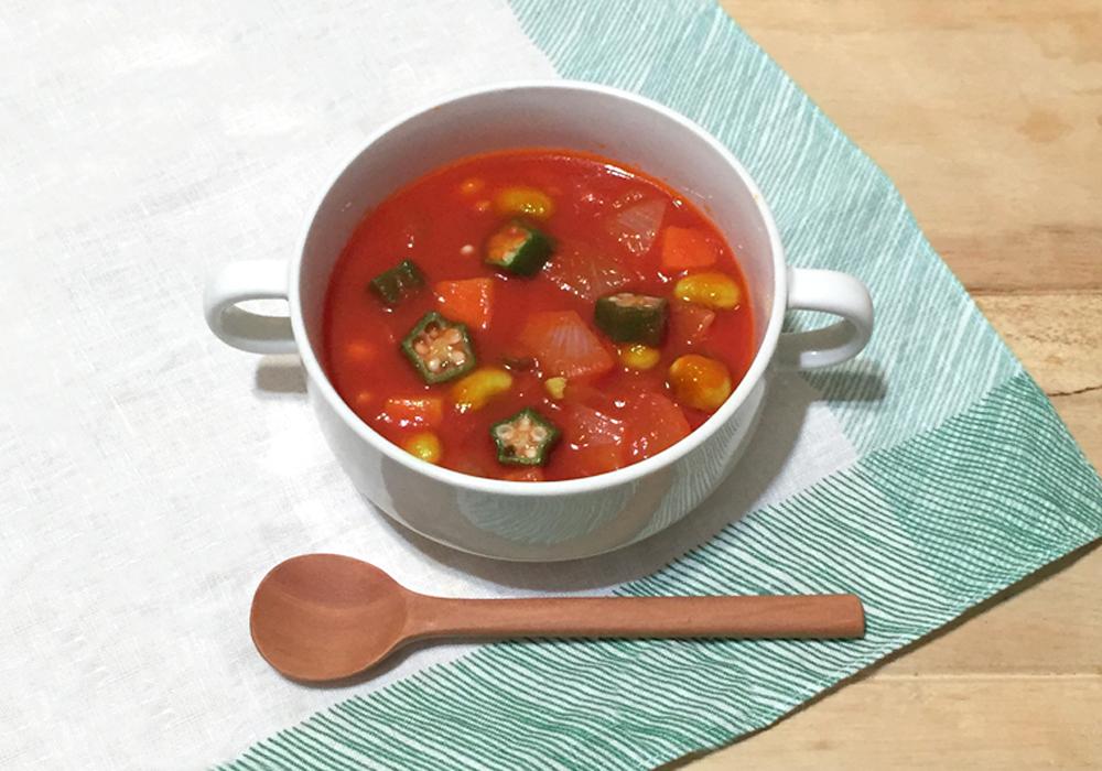 枝豆とオクラのトマトスープ